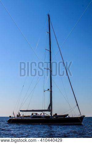 Hvar, Croatia - October 3, 2011: View Of Sailboats Near Hvar Island On A Sunny Day