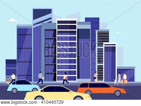 People In Downtown. Spring City Landscape, Car On Town Road. Person Walk Shop, Modern Urban Building