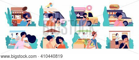 Small Business. Cafe Owner, Coffee Shop Bakery Local Market. Flat Happy Customer Eat Food, Street Fa
