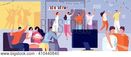 Friends Home Party. Apartment Evening, Young Teens Night Dance At Flat. People Talk, Watch Tv Or Pla