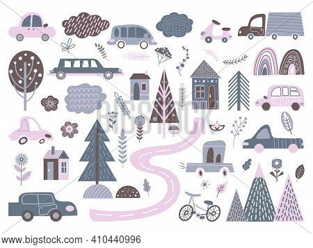 Scandinavian City Elements. Abstract Transportation, Cute Cars Bicycle Road To House. Nordic Buildin