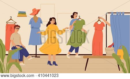 Fitting Room. Fashion Store Or Outlet, Girls Shopping Time. Woman In Dress, Sale In Boutique Vector