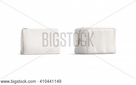Blank Canvas Pouch And Cosmetic Bag Mockup, Half-turned View, 3d Rendering. Empty Cotton Cosmetician
