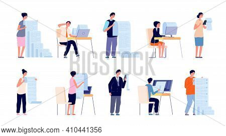 People With Documents. Cartoon Manager, Checklist File Or Paper Pay Form. Fill Work Document Or Appl