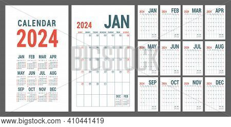 Calendar 2024. English Red Planner Template. Vector Grid. Office Business Planning. Creative Design