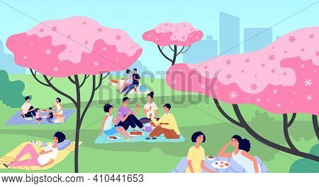 Picnic In City Park. Family Picnics, Rest On Nature Landscape. People Walking, Cartoon Spring Summer