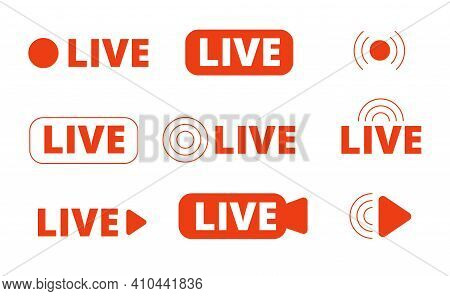 Live Streaming Icons. Livestream Icon, Stream Broadcast Online Isolated Logo. Internet Video Signs,