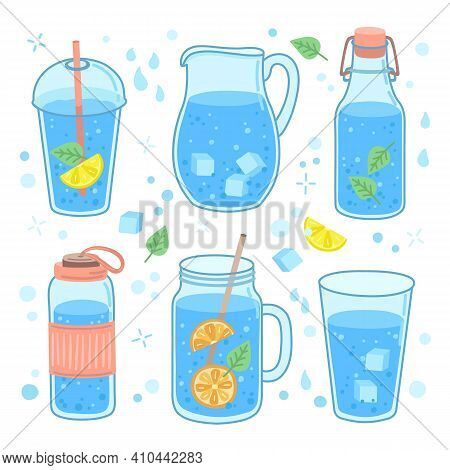 Drink Water Concept. More Drinking, Glass Bottle Cup And Mug. Healthy Trendy Lifestyle, Zero Waste A