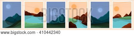 Contemporary Abstract Landscape. Art Modern Landscape, Sun Boho Wall Decor. Moon Sea Or River In Mou