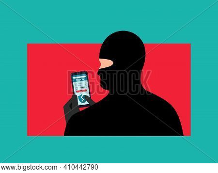Hacking A Users Account. The Fraudster Is Holding A Smartphone With Hacked Security. Internet Fraud.