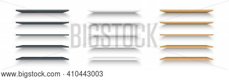 Set Of Realistic Black, White And Brown Shelves On White Background. Set Of Plastic And Wooden Shelv