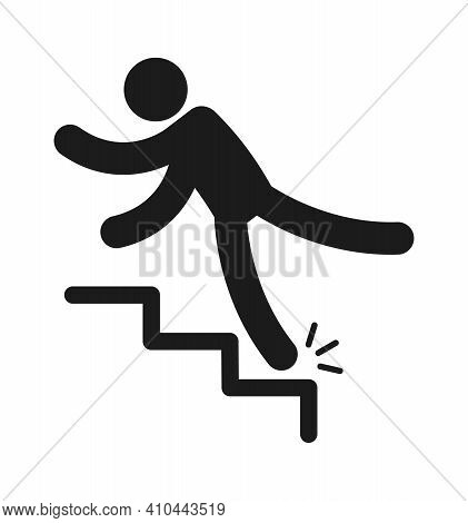 Person Injury Slipping On Wet Floor. Falling People Black Simple Silhouette, Danger Symbol Unbalance
