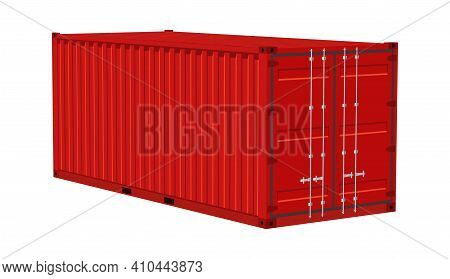 Red Cargo Container. Transportation Delivery Freight, Realistic Angle View Metal Distribution Box, I