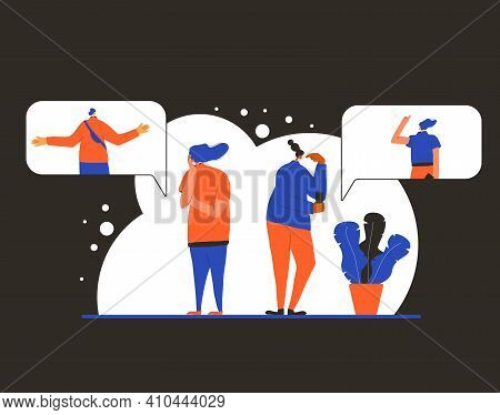 Pensive People Concept. Man And Women Dressed In Casual Clothes Standing In Doubt. Person Frustrated