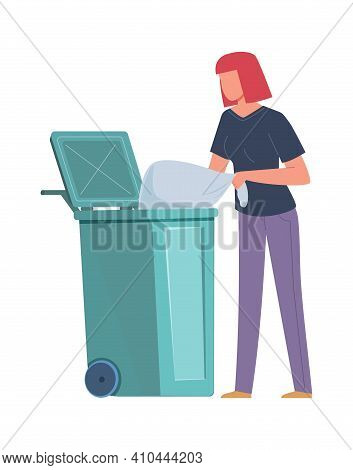Woman Collecting Garbage. Girl Throws Trash Bag Into Dumpster, Volunteers Pollution Protect And Recy