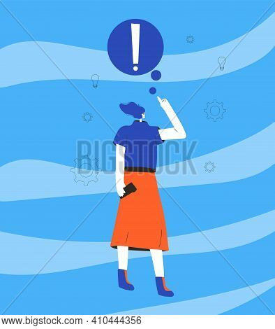 Pensive Woman. Female Person In Doubt And Have An Idea. Character Frustrated By Current Situation. C