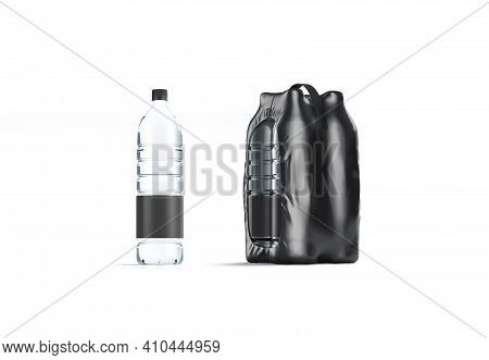 Blank Transparent Plastic Bottle With Black Pack Handle Mockup, Isolated, 3d Rendering. Empty Shrin