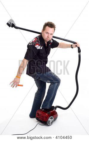 Man With Vaccum Cleaner