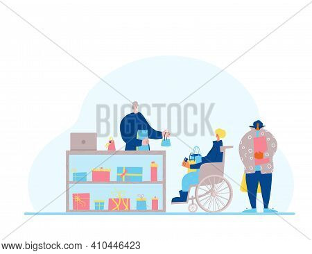 Small Gift Shop. Person In Wheelchair Byuing A Presents For His Family And Going To Pay With His Cre