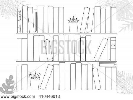 Printable A4 Paper Sheet With Bookshelves And Book On Background With Tropical Leaves. Minimalist Pl