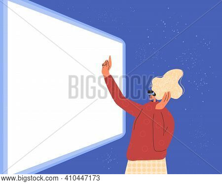 Woman Wearing Virtual Reality Glasses Touching Empty Screen Banner Template . Female Business Charac