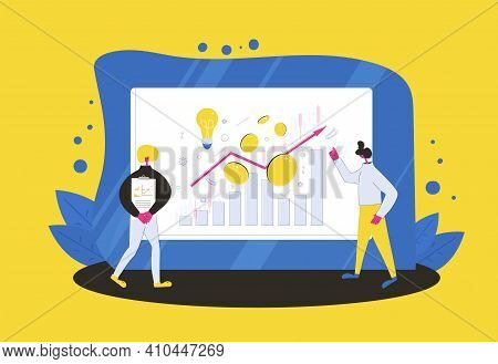 Financial Advisor And Analyst. Minor Shareholders. Person Have A Investment Idea And Man Reading A R