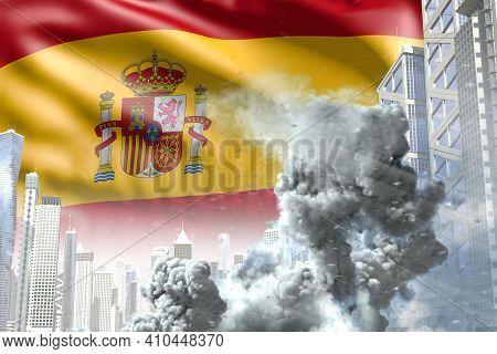 Big Smoke Column In Abstract City - Concept Of Industrial Explosion Or Terrorist Act On Spain Flag B