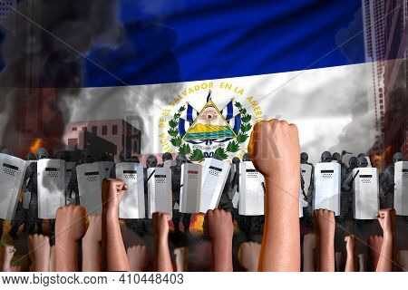 Protest In El Salvador - Police Guards Stand Against The Protesting Crowd On Flag Background, Revolt