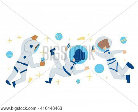 Space Tourism Concent. Group Of Astronauts Dressed In Helmet And Suit In An Open Space And Taking A