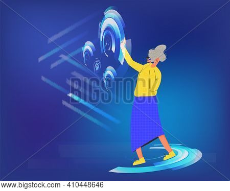 Woman Wearing Virtual Reality Glasses Working With Scheme And Data. Female Business Character With V