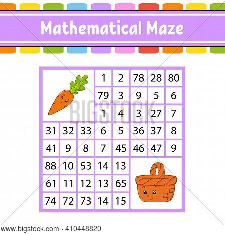 Mathematical Maze. Game For Kids. Number Labyrinth. Education Developing Worksheet. Activity Page. P