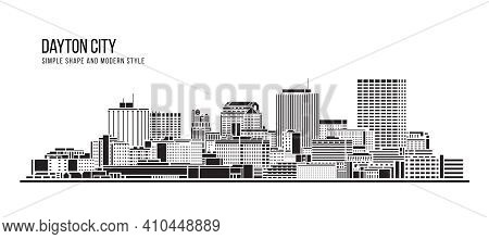 Cityscape Building Abstract Simple Shape And Modern Style Art Vector Design -  Dayton City