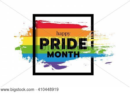 Happy Pride Month Text Word On Rainbow Flag Ink Brush And Square Frame Vector Design