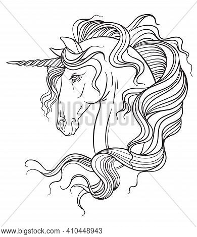 Elegant Head Of The Unicorn With A Long Mane. Vector Black And White Isolated Contour Illustration F