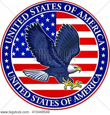 American Eagle With Usa Flags. Eagles Fly