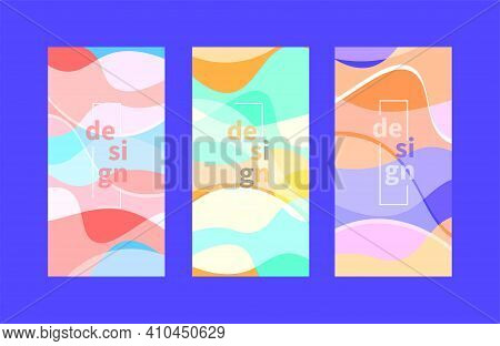 Set Of Pastel Posters, Backdrops For Web Design With Wavy Abstract Shapes. Spring Feminine Design Fo