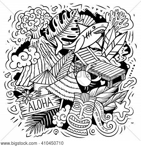 Hawaii Cartoon Vector Doodle Design. Line Art Detailed Composition With Lot Of Hawaiian Objects And