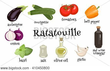 Ratatouille French Vegetable Dish. Set Of Ingredients For Coocing. Vector Illustration In Cartoon Ns
