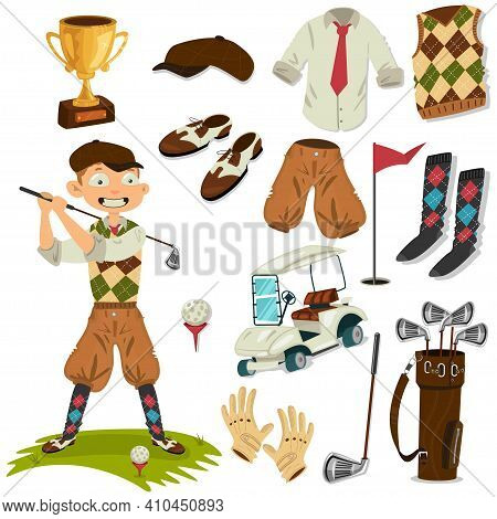 Golfer And Golf Accessories Vector Cartoon Set Isolated On A White Background.