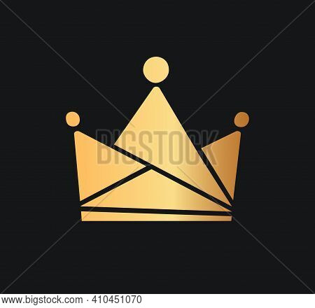 Queens Or Kings Crown Vector Logo. Isolated Golden Corona Logotype On Dark Background