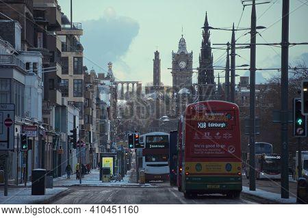 Edinburgh, United Kingdom - February 17, 2021. Princes Street, Edinburgh, Scotland, United Kingdom.