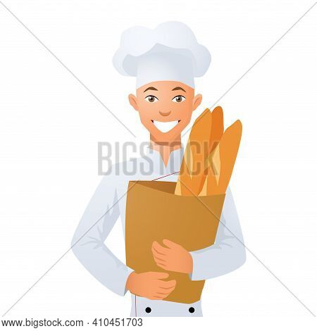 The Baker Is Holding A Bag Of Bread. Vector Illustration.