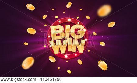 Big Win Gold Text On Retro Red Board Vector Banner. Win Congratulations In Frame Illustration For Ca