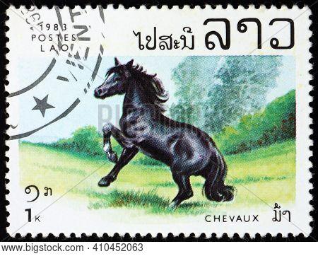 Laos - Circa 1983: A Stamp Printed In Laos Shows Black Horse, Circa 1983