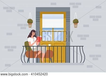 Woman Reading On Balcony. People Relax Sitting On Chair In Modern Balcony Building Exterior Vector B