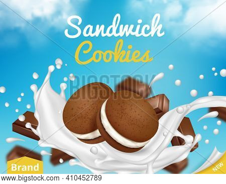 Cookies With Milk. Ads Poster With Sugar Cookies Flowing In Milk Splashes Decent Vector Placard. Ill
