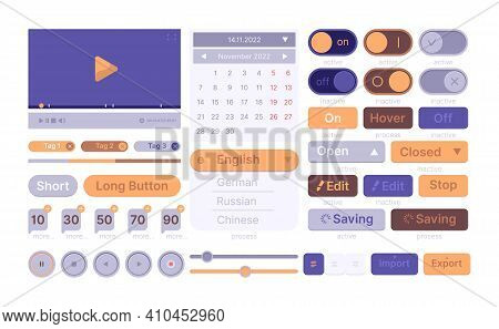 Ui Web Templates. Modern Clean Smartphone Theme Wireframes App Elements Buttons Interface Icon Divid