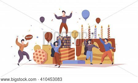 Festive Characters. People Celebrate Party Holding Gifts Standing Near Big Cake Garish Vector Concep