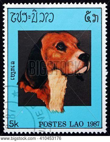 Laos - Circa 1987: A Stamp Printed In Laos Shows Beagle, Dog, Circa 1987
