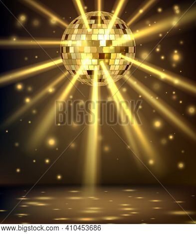Night Party Background. Disco Ball With Reflected Squares And Triangles Surfaces Nightclub Party Inv